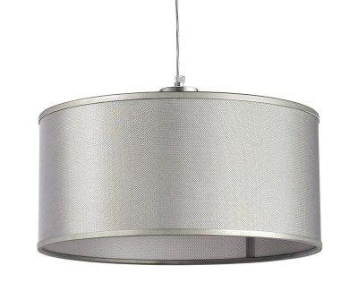 Lampada a sospensione fissa in filo d'acciaio grigio. Diametro 42cm