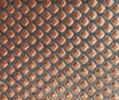 *Prodotto Artigianale* 120X120 con struttura in metallo nero, piano in pietra lavica di Sicilia con decoro vetrificato sui toni del rame
